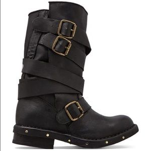 Jeffrey Campbell Black Tall Brit Strappy Moto Boot